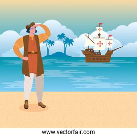 happy columbus day national usa holiday, with christopher columbus watching on the beach
