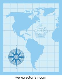 happy columbus day, with compass and ship carabela on map world