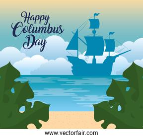 happy columbus day national usa holiday, with silhouette of carabela