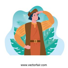 christopher columbus watching in scene tropical leaves