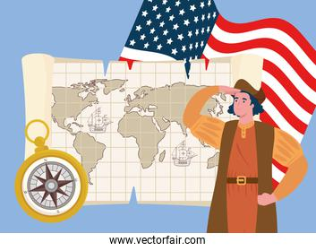 happy columbus day national usa holiday, with christopher columbus and icons exploration