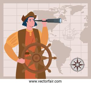 happy columbus day national usa holiday, and christopher columbus with telescope