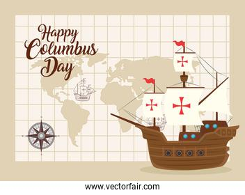 happy columbus day national usa holiday, with carabela and world map location