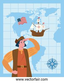 happy columbus day, with christopher columbus, carabela, flag usa, compass and world map