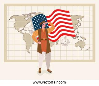 happy columbus day, with christopher columbus, flag usa and world map