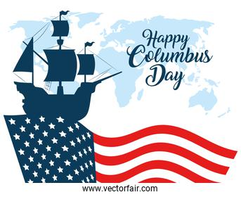 happy columbus day, with silhouette ship carabela on background flag united states of america