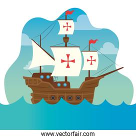 happy columbus day, with ship carabela on sea