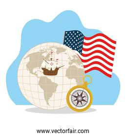 happy columbus day, with world planet, compass, ship carabela and flag usa