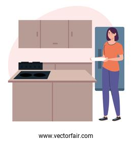 woman cooking holding dish in kitchen scene