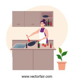 woman using apron cooking with utensils and vegetables