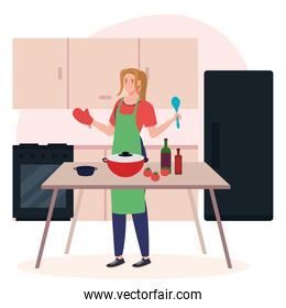 woman cooking using apron with kitchen supplies and vegetables on kitchen scene