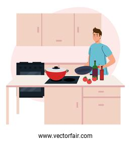 man cooking in kitchen scene, with supplies and vegetables