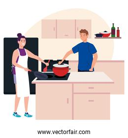 young couple cooking with supplies in kitchen scene