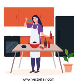 woman cooking using apron with kitchen supplies and vegetables in kitchen scene