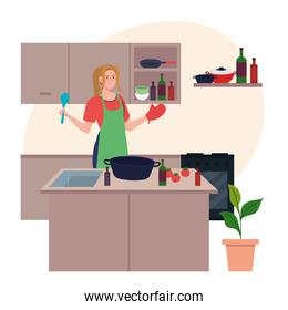 young woman using apron cooking with utensils and vegetables