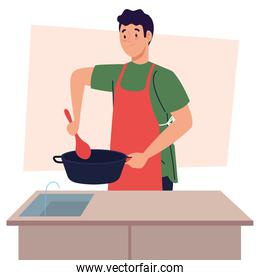 man cooking using apron with pot in kitchen scene