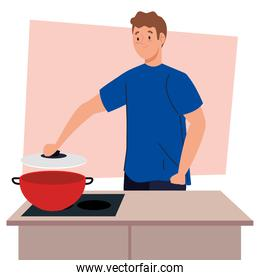 man cooking with pot on kitchen scene