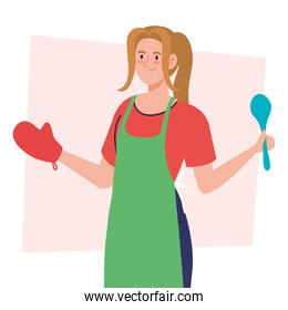 woman cooking using apron with spoon and glove, in white background