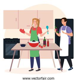 young couple cooking with supplies on kitchen scene