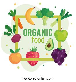 cartel with organic food, fruits and vegetables, concept healthy food