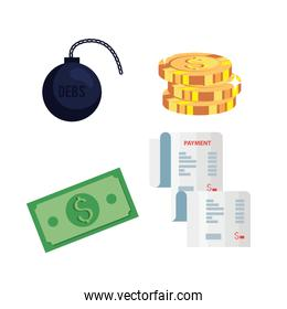set of pile coins and finance icons