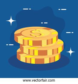 pile of coins dollar icons on blue background
