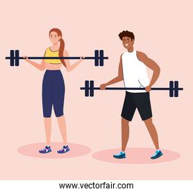 couple practicing exercise outdoor, sport exercise concept