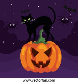 happy halloween banner with cat on pumpkin and spiders