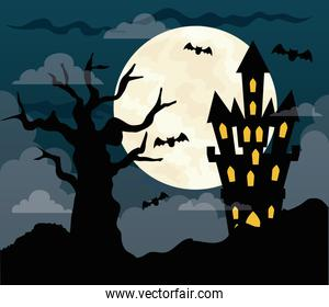 happy halloween background with castle haunted, dry tree and full moon in dark night