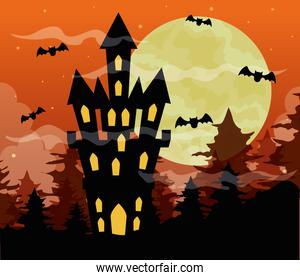 happy halloween background with castle haunted, bats flying and full moon on orange sky