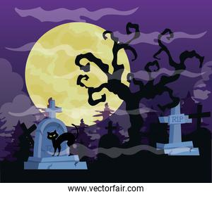 happy halloween background with dry tree, cat, tombstones cemetery and full moon