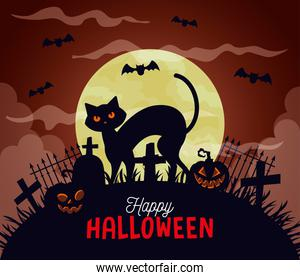 happy halloween background with cat, pumpkins, bats flying and full moon