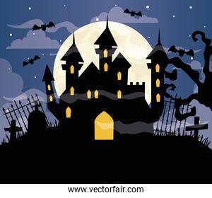 happy halloween background with castle haunted on cemetery scene
