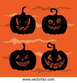 set of pumpkins silhouettes for happy halloween celebration