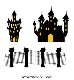 castles haunted with gate cemetery on white background