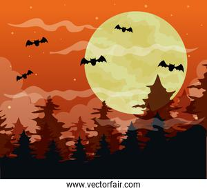happy halloween background with spooky forest and bats flying