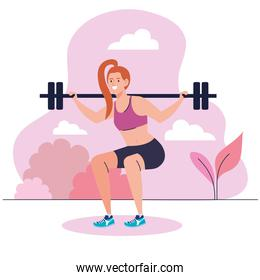 woman doing squats with weight bar outdoor, sport recreation exercise
