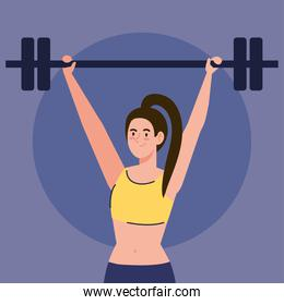 woman doing exercises with weight bar outdoor, sport recreation concept