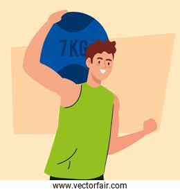man practicing exercise with ball of seven kilograms, recreation exercise sport