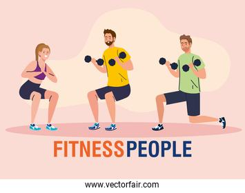 group of fitness people, young people practicing exercise