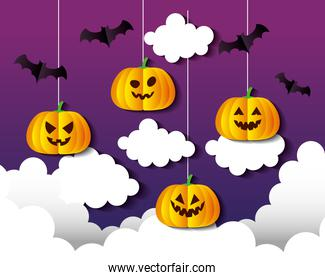 happy halloween banner, with pumpkins hanging, clouds and bats flying in paper cut style
