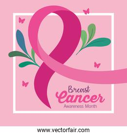 pink ribbon, symbol of world breast cancer awareness, with leaves and butterflies