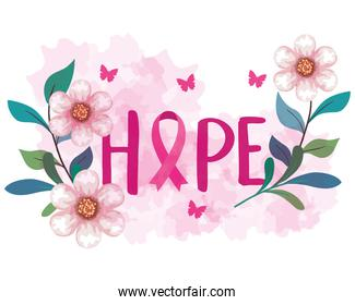 symbol of world breast cancer awareness month in october with pink ribbon, butterflies, flowers and leaves decoration