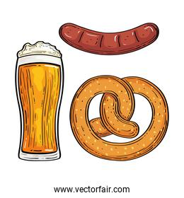 beer glass with pretzel and sausage