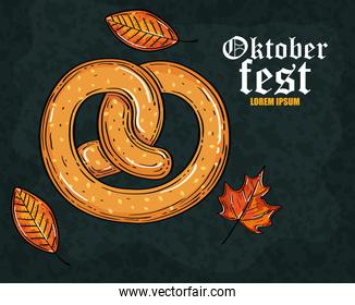 oktoberfest beer festival celebration with delicious pretzel and autumn leaves