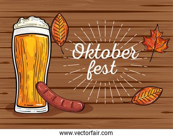 oktoberfest festival celebration with beer glass, sasage, autumn leaves in wooden background
