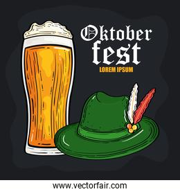 oktoberfest festival celebration with beer glass and tyrolean hat