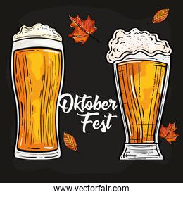 oktoberfest festival celebration with glasses beer and autumn leaves