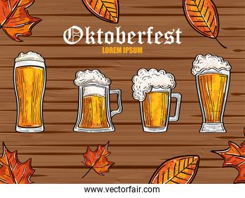oktoberfest festival celebration with beers and autumn leaves in wooden background