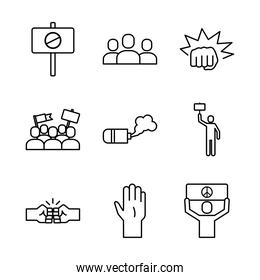 bundle of nine protest set icons